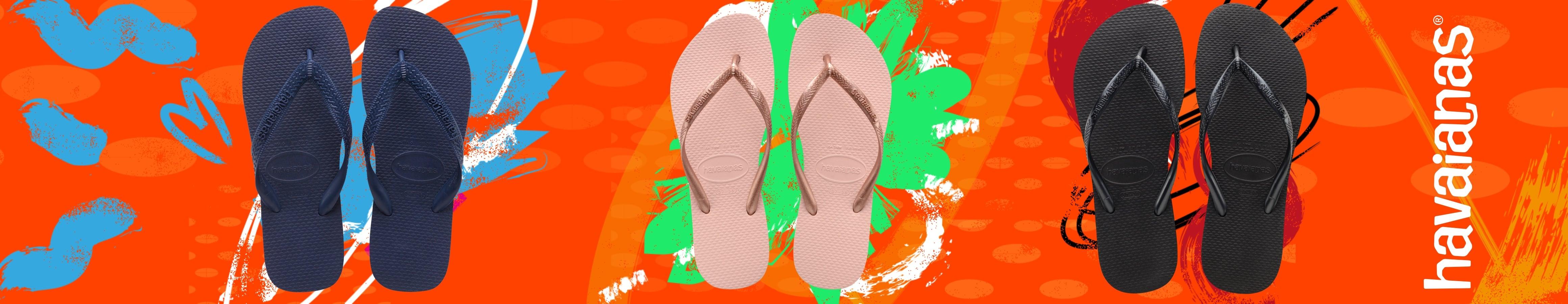 Chinelos da Havaianas de diferentes cores e modelos. Compra já as tuas Havaianas favoritas para este verão!